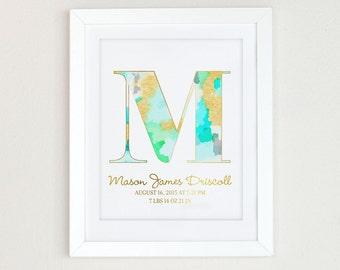 Watercolor Monogram Art Print,  Personalized Girls Nursery Decor, Monogram Initial Art, Aqua and Gold Nursery Art, Mint and gold nursery