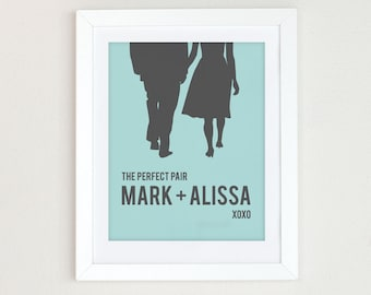 Personalized Wedding Gift for Couples, Couples Silhouette, Engagement Gift, Choose Your Colors