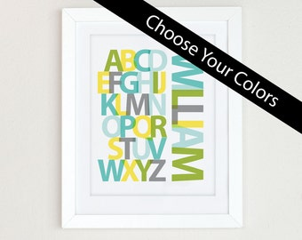Personalized Nursery Alphabet Print, Alphabet Art, yellow gray nursery wall art, Alphabet Poster, ABC wall art, nursery decor, nursery art