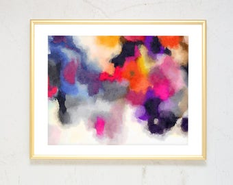 Large Abstract Art, Watercolor Pink Abstract Painting, abstract watercolor print, girls nursery wall art, Colorful Modern Art, Boho Decor