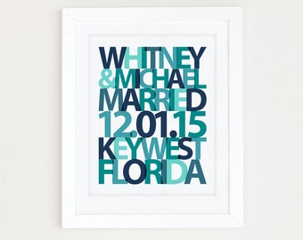Wedding date print, Wedding gift for Couple, Personalized Wedding Gift, Beach Wedding Gift, Wedding date art, anniversary date, Teal Wedding