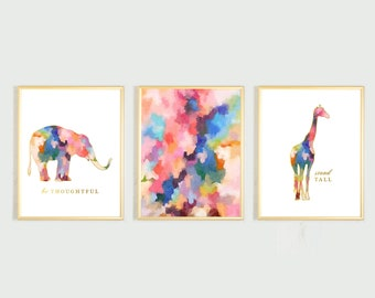 Watercolor Girl Nursery Wall Art Animal Nursery Art Girl Nursery Wall Decor Elephant Nursery Art Giraffe Print Watercolor Abstract Art Print