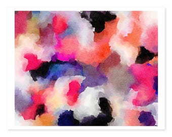 Watercolor painting abstract, Abstract Art Print, Colorful modern art,  Abstract Painting, Office Decor for Women, Girls Nursery