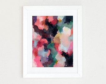 Colorful abstract watercolor print, Watercolor Abstract Art Print, Abstract Painting, Office Decor for Her, Pink Blue Wall Art, gift for her
