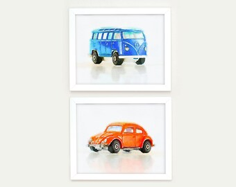 Nursery art boys, Blue and Orange, boys wall art,Transportation nursery decor, Car wall art, Toddler Room Art, Car Theme, VW Beetle Print