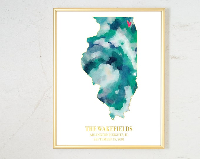 Featured listing image: Wedding Gift for Couple, Personalized State Watercolor, Engagement Gift Illinois Map Art Watercolor Art Print Personalized Wedding Date Gift