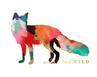 Animal Nursery Art, Woodland Nursery Decor, Watercolor Nursery Art, Fox Print, orange Boys Nursery art, animal watercolor woodland art