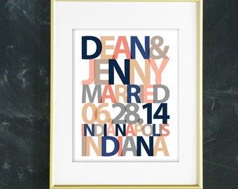 Unique Wedding Gift, Personalized Wedding Gift, Custom Wedding Gift for Couple, Important Date Art, Navy and Pink Wedding Decor,