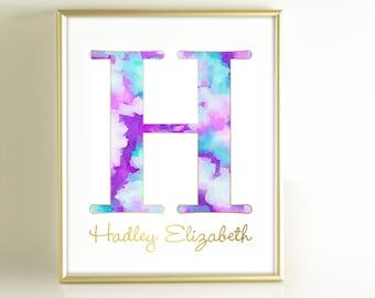Watercolor Monogram Art Print, Personalized Girls Nursery Decor, Monogram Initial Art, Purple Teal Aqua Gold Nursery Wall Art, Gold Office