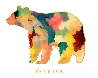 Animal Nursery Art, Woodland Nursery wall Art, Be Brave, Boy Nursery art, Watercolor Nursery Art, Bear Print, forest animal decor, aztec pri