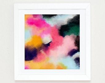 Large Abstract Painting, Boho Wall Art, abstract watercolor pink, black and white wall art, Colorful Modern Art Abstract Print, abstract art