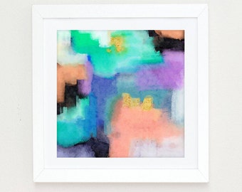 Watercolor Abstract Painting, Colorful Modern Art Abstract Print, abstract watercolor mint aqua black pink wall art, abstract art painting