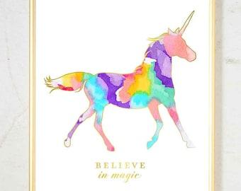 Watercolor Nursery Art, Girls Nursery Art, Unicorn Print, Pink Gold Nursery Decor, Nursery Wall Decor, Pink Gold Office Decor Rainbow Color