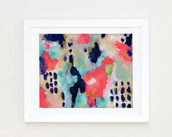 Colorful Modern Art Abstract Print, Watercolor Abstract Painting, Office Decor for women, Navy Coral wall art, abstract acrylic painting