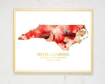 Personalized State Watercolor