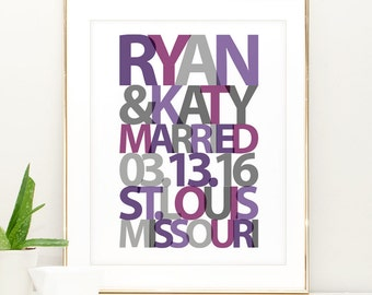 Personalized Wedding Gift for Couple Wall Art Print Anniversary Gift Art Personalized Bridal Shower Gift Customizable Wedding Gift for Bride