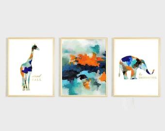 Watercolor Boys Nursery Wall Art, Animal Nursery Art, Boy Nursery Decor, Elephant Nursery Art, Giraffe Print, Blue Orange Abstract Art Print
