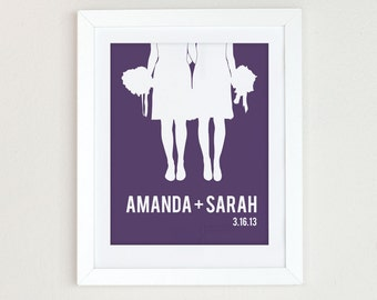 Personalized gay wedding gift, Personalized Wedding Gift, Same Sex Wedding Gift, Lesbian Wedding Gift, hers and hers gift Couples Silhouette