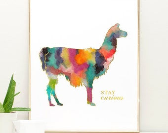 Llama print, llama decor, Watercolor Girl Nursery Wall Art, Animal Nursery Art Girl, Boho Nursery Decor, Llama Nursery Watercolor Art Print