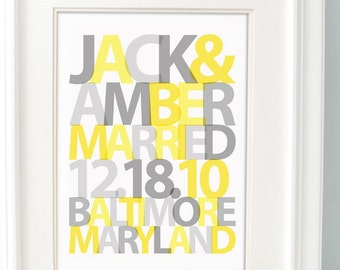 Personalized Wedding Gift for Couple, Wedding gift art, Bridal Shower Gift, Unique Wedding Gift, important date print Yellow Gray Wall Decor