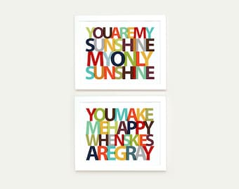 You Are My Sunshine You Make Me Happy When Skies Are Gray print, nursery art for boys, nursery decor boy, boy wall art print, boy wall decor