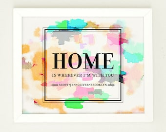 Home is wherever i'm with you, Home Quote Print, Personalized Hostess Gift, Watercolor Print, Housewarming Gift, Family Name Art,