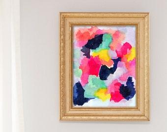 Watercolor Nursery Art Print, Girl Nursery Decor, Navy Coral Nursery Decor, watercolor print, abstract watercolor painting, office wall art