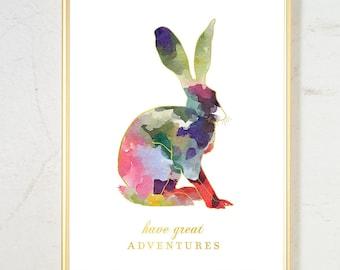 Woodland Nursery Decor, Girl Nursery Wall Art, animal print, Watercolor Nursery Art Rabbit Print, Pink Gold Nursery Decor Nursery Wall Decor
