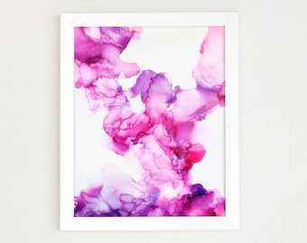 Abstract Art painting Pink Purple Wall Art Print of Alcohol Ink Painting Colorful Art for Girls Room or Office Modern Art print watercolor