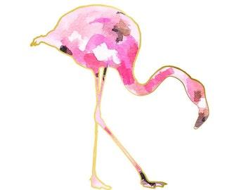 Watercolor Nursery Art Girl Nursery Wall Art Pink Flamingo Print Pink Gold Nursery Decor Girl nursery Decor, Pink Gold Office Decor Flamingo