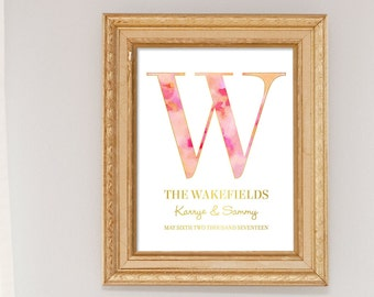 Personalized Wedding Gift for Couple, Pink Watercolor painting, Monogram Art Print, blush pink wedding decor, Office Decor, Initial wall art