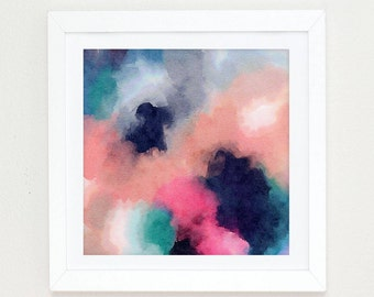 Watercolor Abstract Painting, abstract watercolor pink and navy blue wall art, Colorful Modern Art Abstract Print, abstract art painting