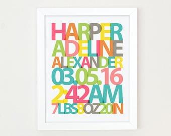 Baby Name Print, Girls Nursery Wall Art, Baby Birth Stats Print, New Baby Gift, Birth Announcement Art, Personalized Girls Nursery Decor