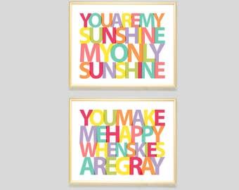 You Are My Sunshine You Make Me Happy When Skies Are Gray print, nursery art girls, nursery wall art boys, playroom art, baby shower gift