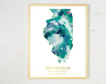 Wedding Gift for Couple, Personalized State Watercolor, Engagement Gift Illinois Map Art Watercolor Art Print Personalized Wedding Date Gift