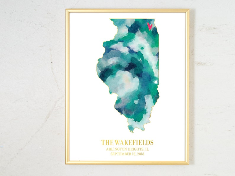 Wedding Gift for Couple Personalized State Watercolor image 0
