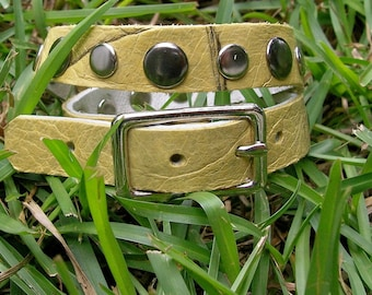 Buckled muted yellow leather wrap cuff
