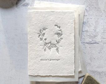 Season's Greetings Wreath, Letterpress Mini Card on Handmade Paper