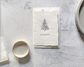 Merry Christmas Tree, Letterpress Mini Card on Handmade Paper