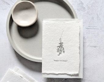 Happy Holidays Holly, Letterpress Mini Card on Handmade Paper