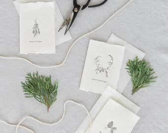 Holiday Cards Set of 12, Letterpress Card