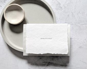 Merry Christmas, Letterpress Mini Card on Handmade Paper