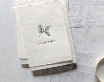 Merry & Bright Acorn, Letterpress Mini Card on Handmade Paper