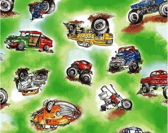 The Good Life Trucks Country Hillybilly Holler Redneck BY YARDS Cotton Fabric