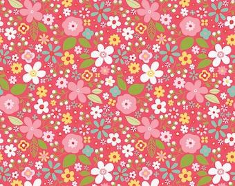 Riley Blake Designs Garden Girl Floral Raspberry Fabric - 1 yard