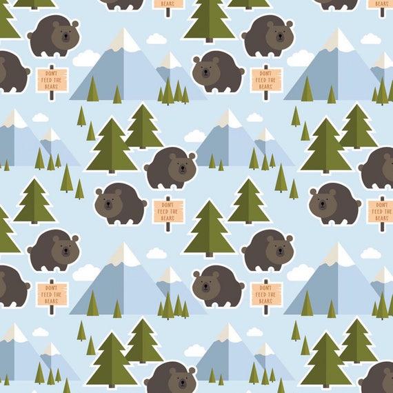 last piece 1 yard 34 inches Alexander Henry Little Bear Cubs Little Cub Stripe fabric
