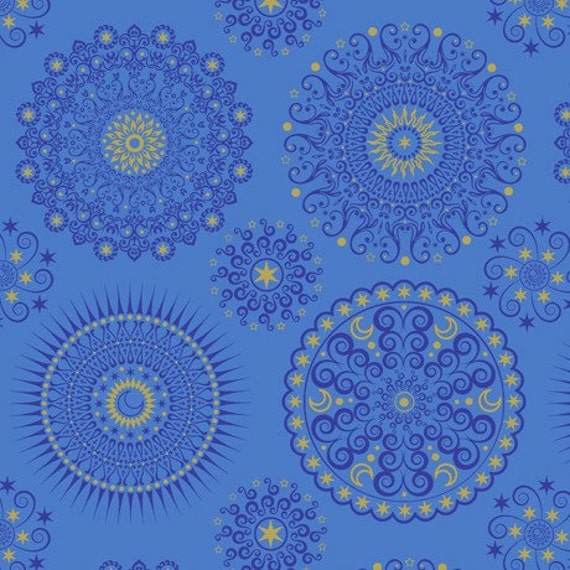 CELESTIAL SOL MANDALAS Blue Quilting Treasures 100/% cotton fabric by the yard