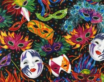 Robert Kaufman Multi Celebration Mask Metallic Fabric - 1 yard
