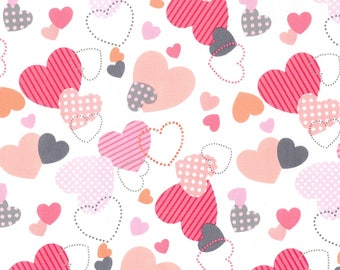 NEW Michael Miller Flutterby Love Hearts fabric - 1 yard