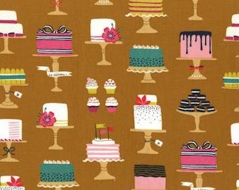 Michael Miller Main Street Cinnamon Sweet Cakes Fabric - 1 yard
